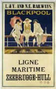 Blackpool, English Vintage Travel Poster by L&Y and N.E. railways, Ligne Maritime, Zeebrugge- Hull